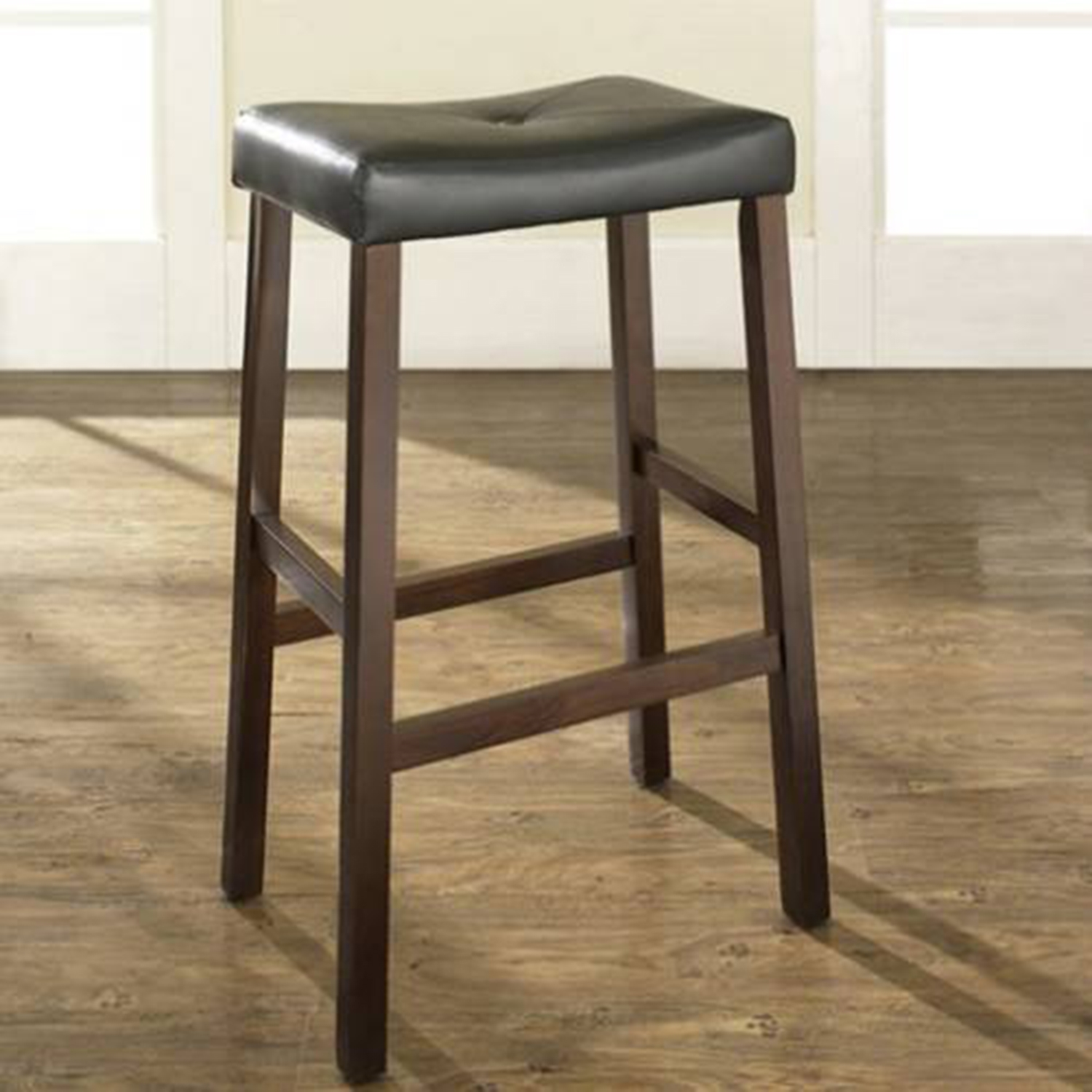 Upholstered Saddle Seat Bar Stool with 29 Inch Seat - Vintage Mahogany (Set of 2) - CROS-CF500229-MA
