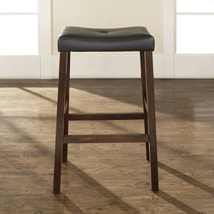 Upholstered Saddle Seat Bar Stool with 29 Inch Seat - Vintage Mahogany (Set of 2)