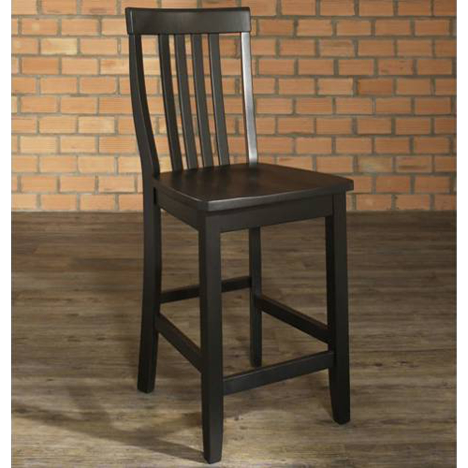 School House Bar Stool with 24 Inch Seat Height - Black (Set of 2) - CROS-CF500324-BK