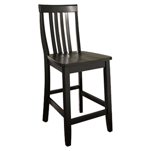 School House Bar Stool with 24 Inch Seat Height - Black (Set of 2)