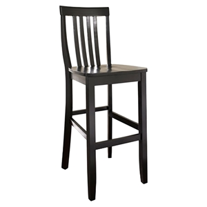 School House Bar Stool with 30 Inch Seat Height - Black (Set of 2)