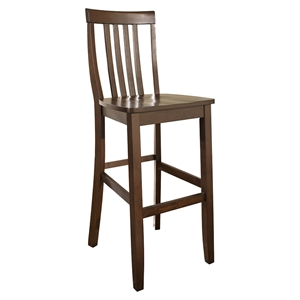 School House Bar Stool with 30 Inch Seat Height - Vintage Mahogany (Set of 2)