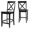 X-Back Bar Stool with 24 Inch Seat Height - Black (Set of 2) - CROS-CF500424-BK