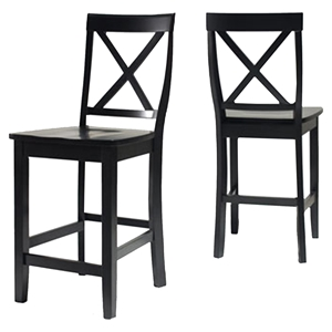 X-Back Bar Stool with 24 Inch Seat Height - Black (Set of 2)