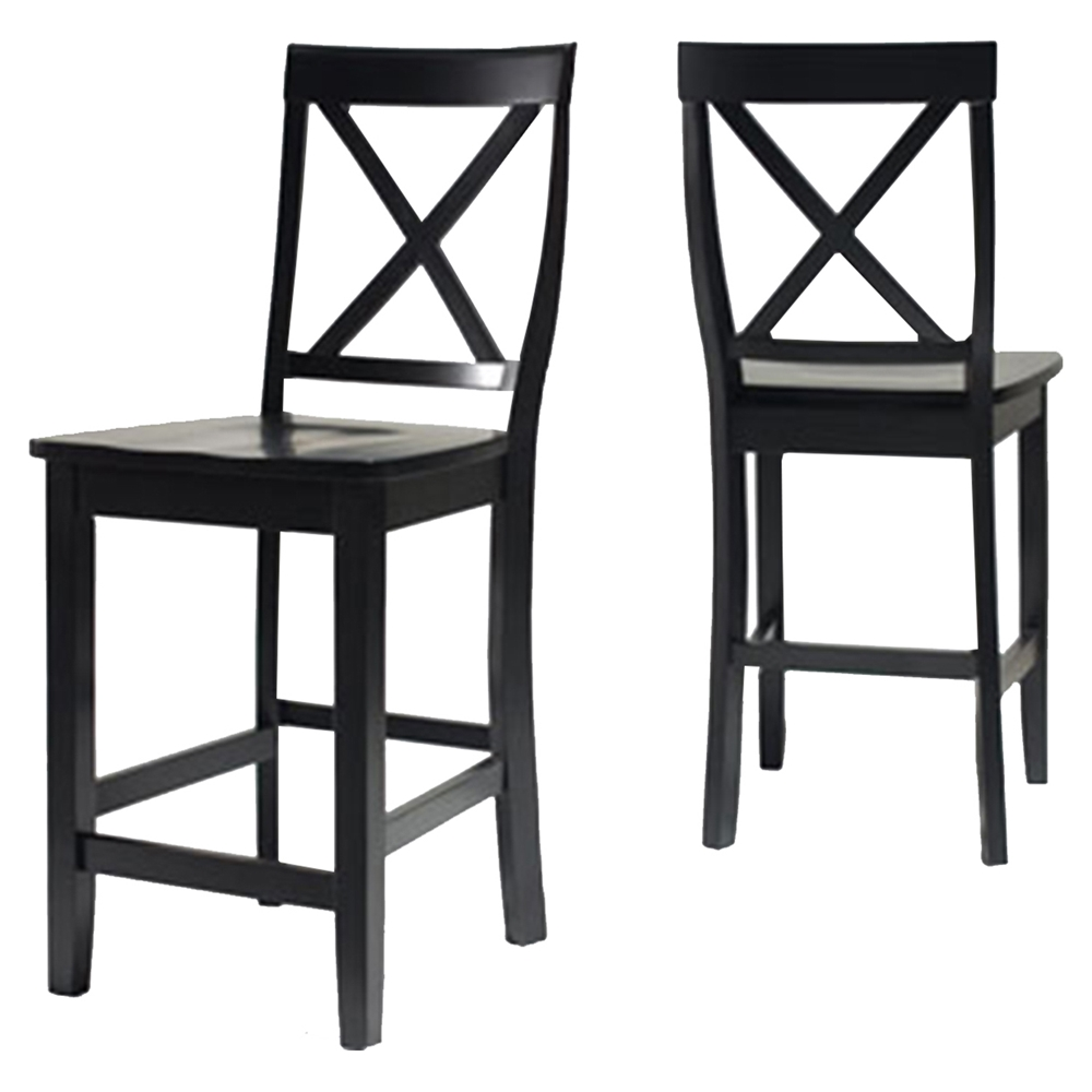 X Back Bar Stool With 24 Inch Seat Height Black Set Of