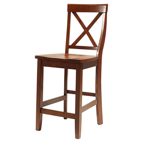X Back Bar Stool With 24 Inch Seat Height Classic Cherry Set Of 2 Dcg Stores