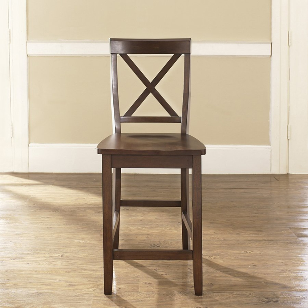 X Back Bar Stool With 24 Inch Seat Height Vintage