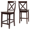 X-Back Bar Stool with 24 Inch Seat Height - Vintage Mahogany (Set of 2) - CROS-CF500424-MA