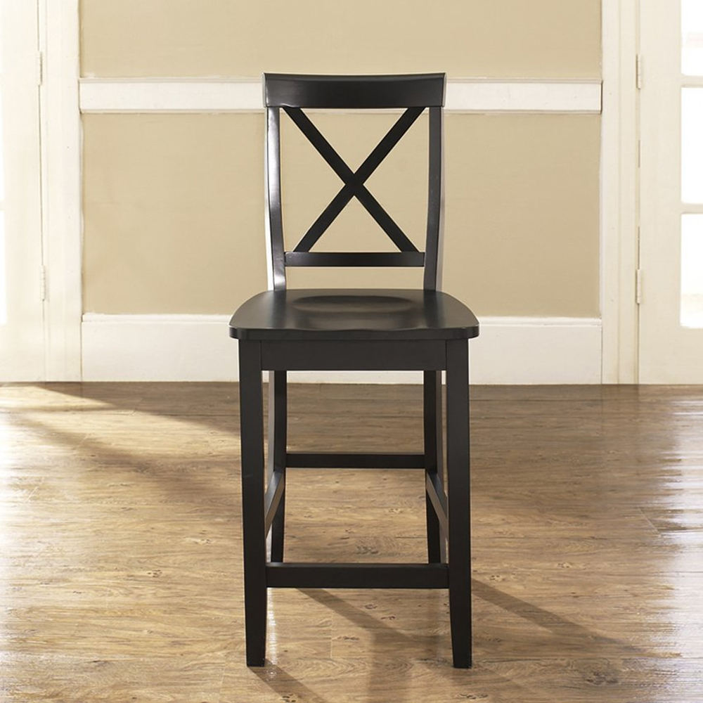 X Back Bar Stool With 30 Inch Seat Height Black Set Of