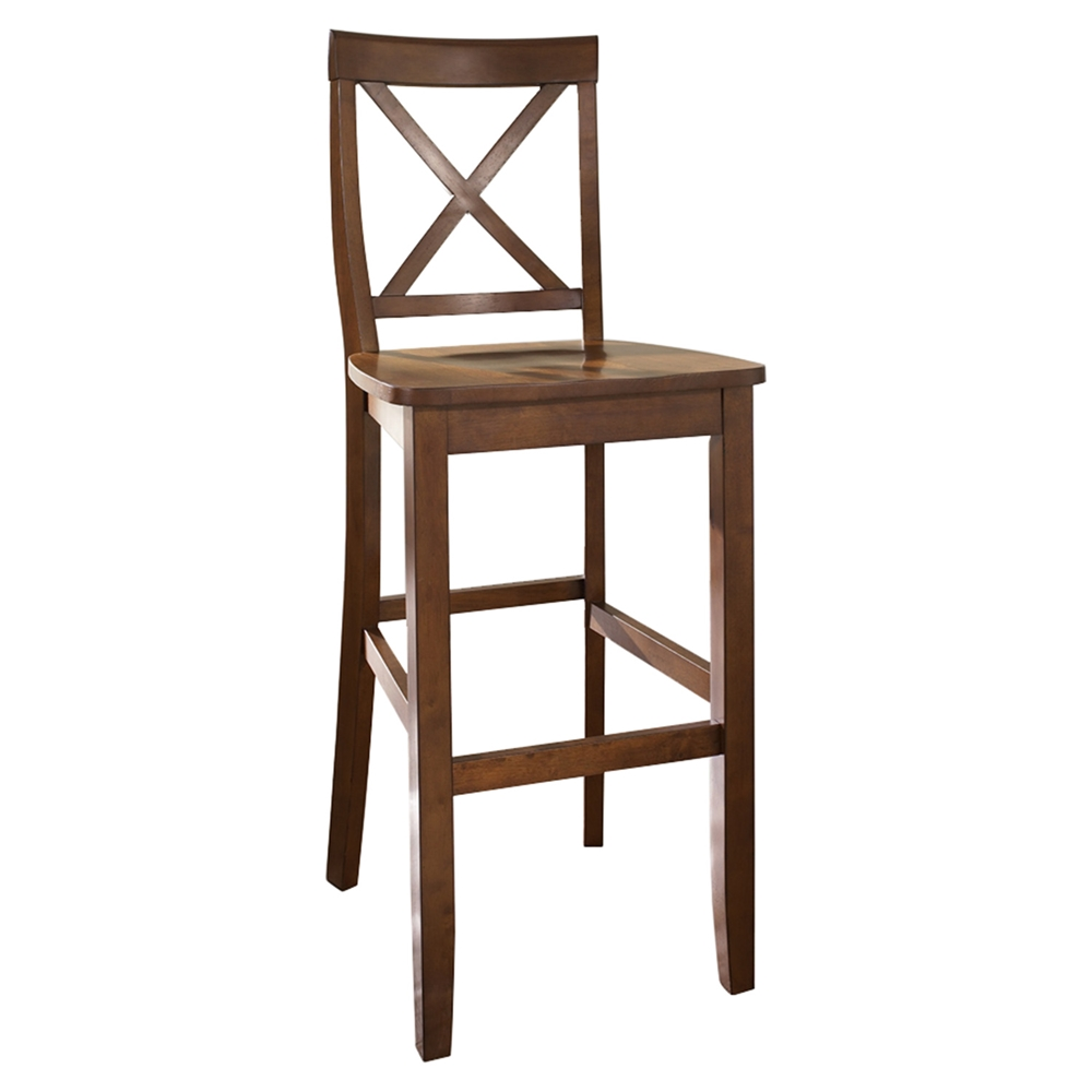 X Back Bar Stool With 30 Inch Seat Height Classic Cherry