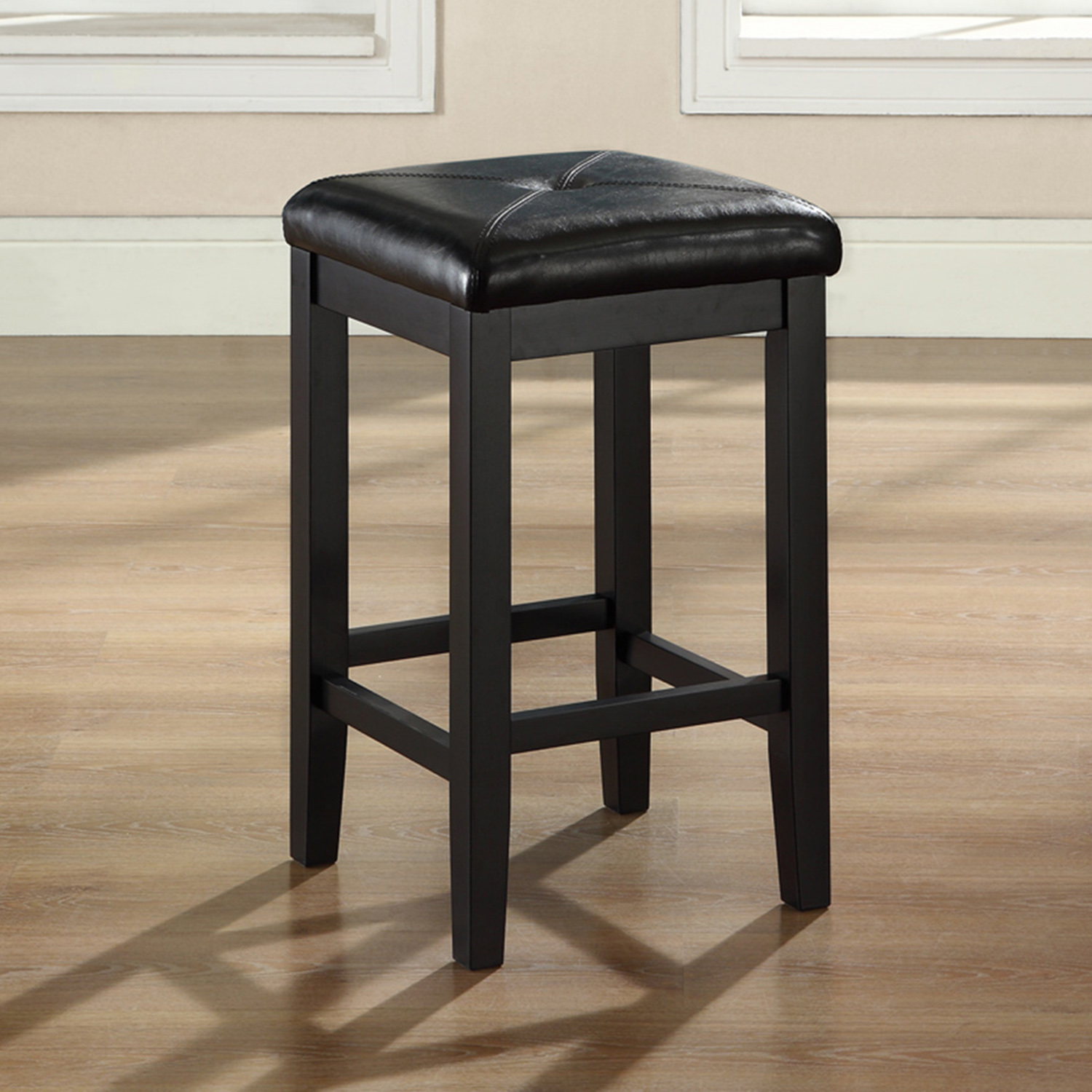 Upholstered Square Seat Bar Stool with 24 Inch Seat Height - Black (Set of 2) - CROS-CF500524-BK