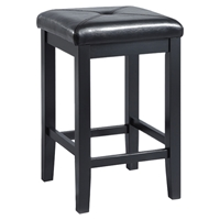 Upholstered Square Seat Bar Stool with 24 Inch Seat Height - Black (Set of 2)