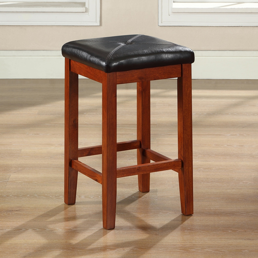 Upholstered Square Seat Bar Stool With 24 Inch Seat Height