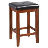 Upholstered Square Seat Bar Stool with 24 Inch Seat Height - Classic Cherry (Set of 2)