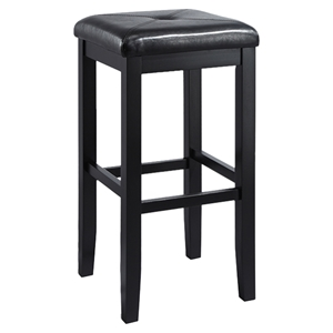 Upholstered Square Seat Bar Stool with 29 Inch Seat Height - Black (Set of 2)