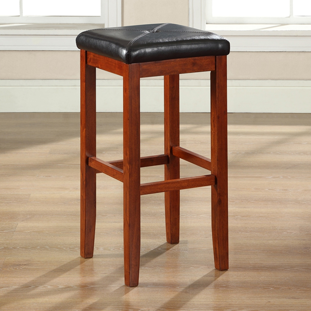 Upholstered Square Seat Bar Stool With 29 Inch Seat Height