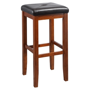Upholstered Square Seat Bar Stool with 29 Inch Seat Height - Classic Cherry (Set of 2)