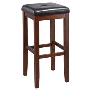 Upholstered Square Seat Bar Stool with 29 Inch Seat Height - Mahogany (Set of 2)