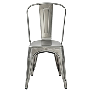 Amelia Metal Cafe Chair - Galvanized (Set of 2)