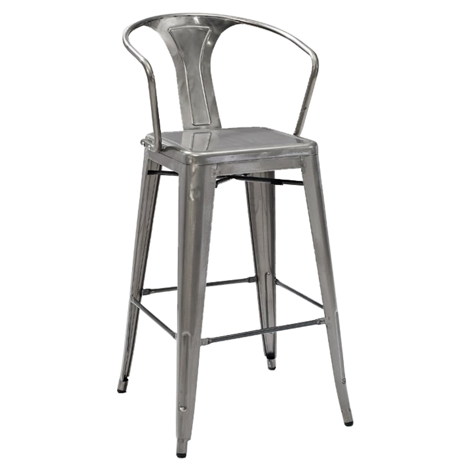 Amelia Metal Cafe Barstool - Galvanized (Set of 2) - CROS-CF500730-GA