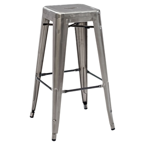 Amelia Metal Cafe Barstool - Stackable, Galvanized (Set of 2)