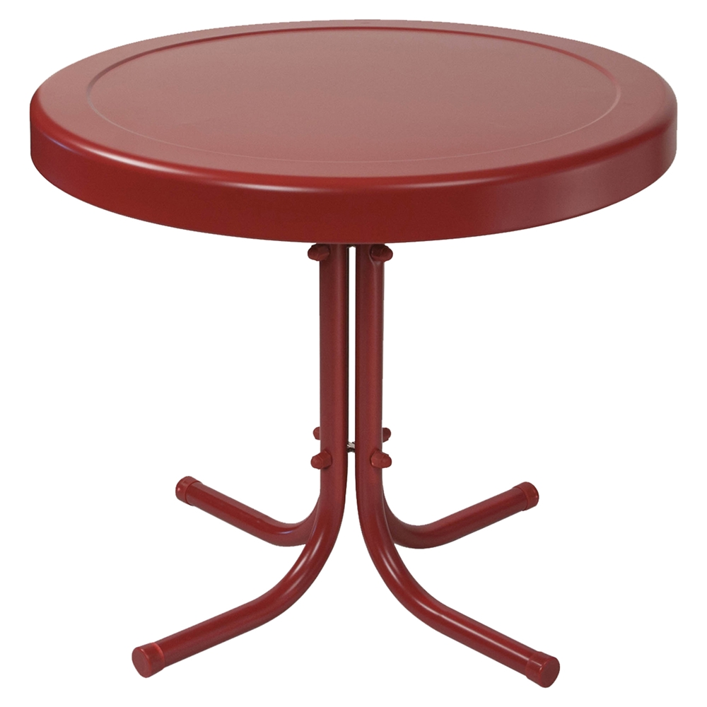 Retro metal side table coral red dcg stores for Red side table