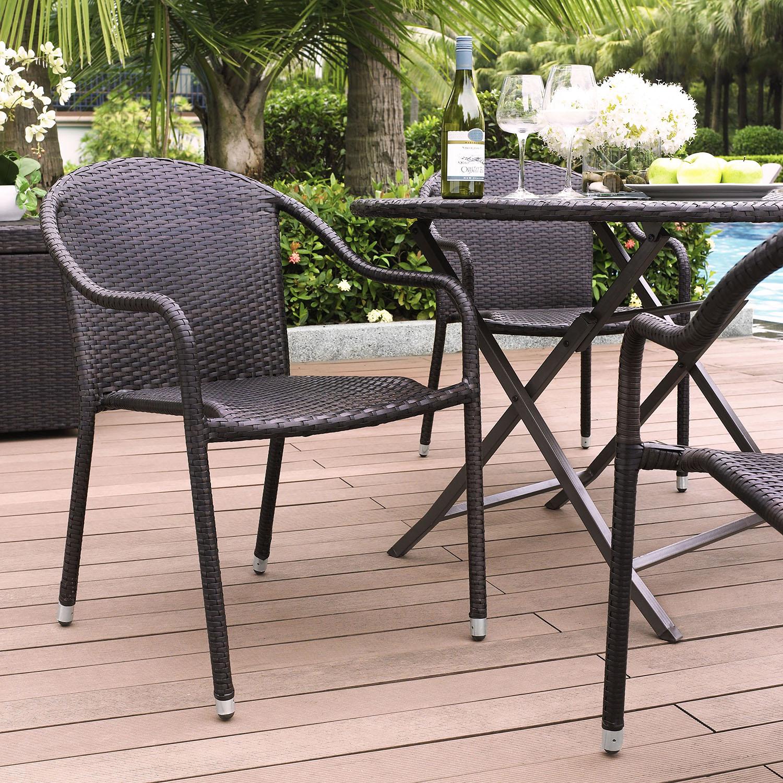 Palm Harbor Outdoor Wicker Chair Stackable Dark Brown Set Of 4 Dcg Stores
