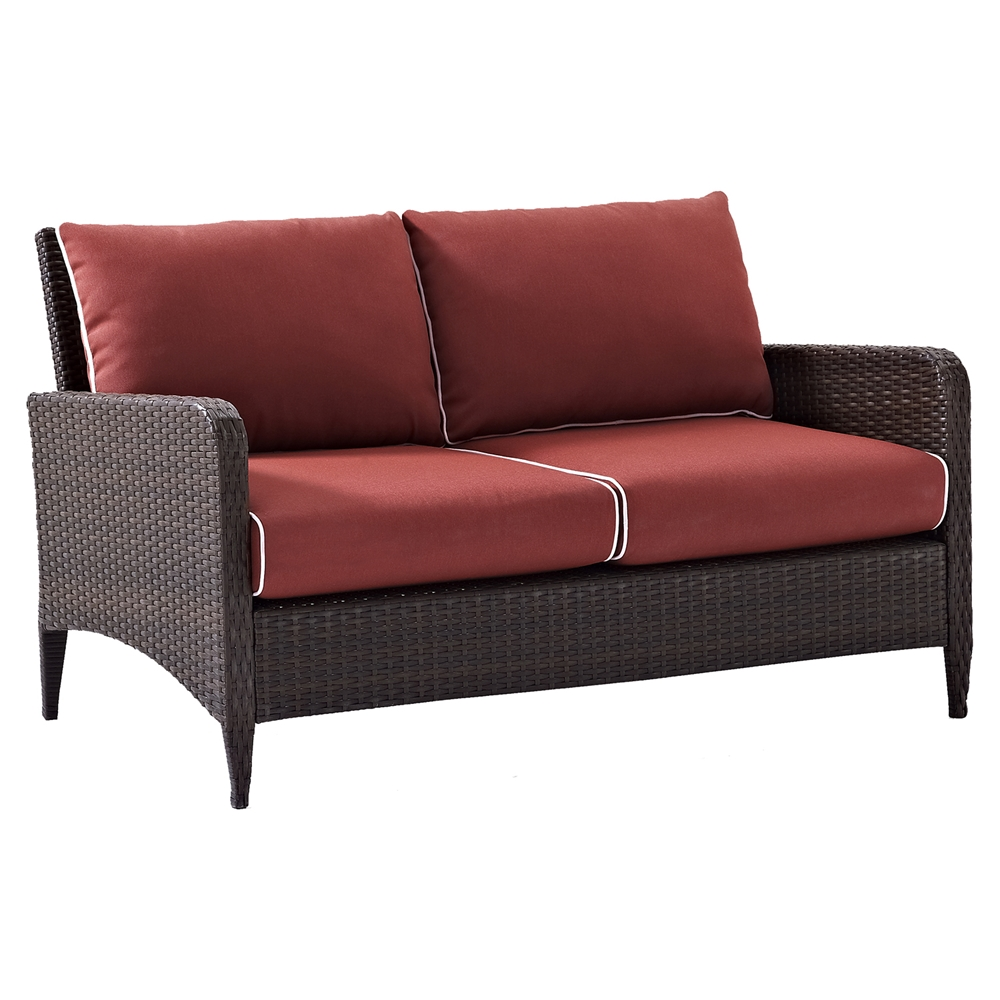 Kiawah outdoor wicker loveseat with sangria cushions dcg stores Loveseat cushions outdoor