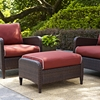 Kiawah Outdoor Wicker Ottoman with Sangria Cushions - CROS-CO7119-BR