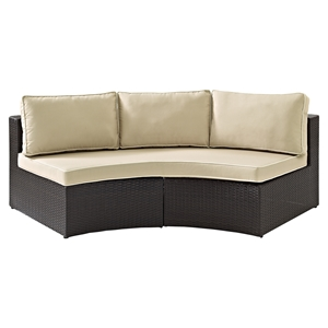 Catalina Wicker Round Sectional Sofa - Dark Brown Frame, Sand Cushions