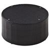 Catalina Outdoor Wicker Round Glass Top Coffee Table - Dark Brown - CROS-CO7121-BR