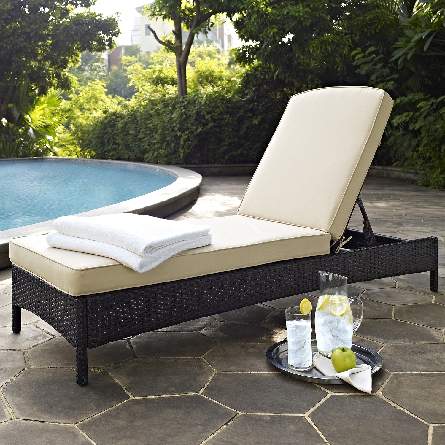 Palm Harbor Outdoor Wicker Chaise Lounge - Dark Brown - CROS-CO7122-BR