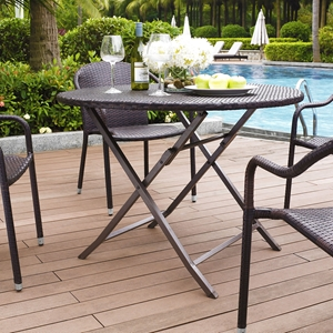 Palm Harbor Outdoor Wicker Folding Table - Dark Brown