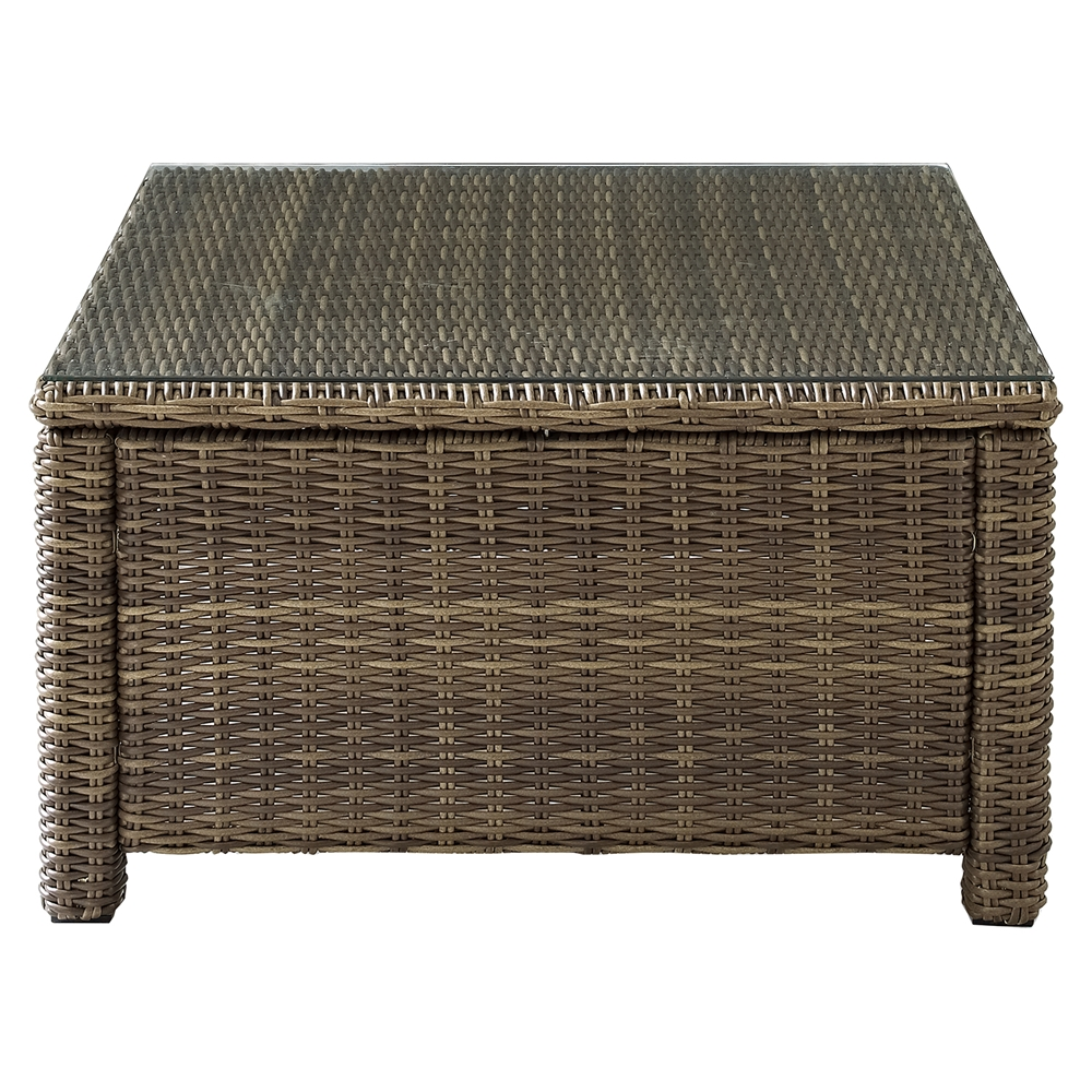 Brown Rattan Coffee Table Outdoor: Bradenton Outdoor Wicker Sectional Glass Top Coffee Table