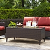 Kiawah Outdoor Wicker Glass Top Table - Dark Brown - CROS-CO7209-BR