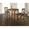 3-Piece Pub Dining Set - Cabriole Table Legs, X-Back Stools, Classic Cherry - CROS-KD320001CH
