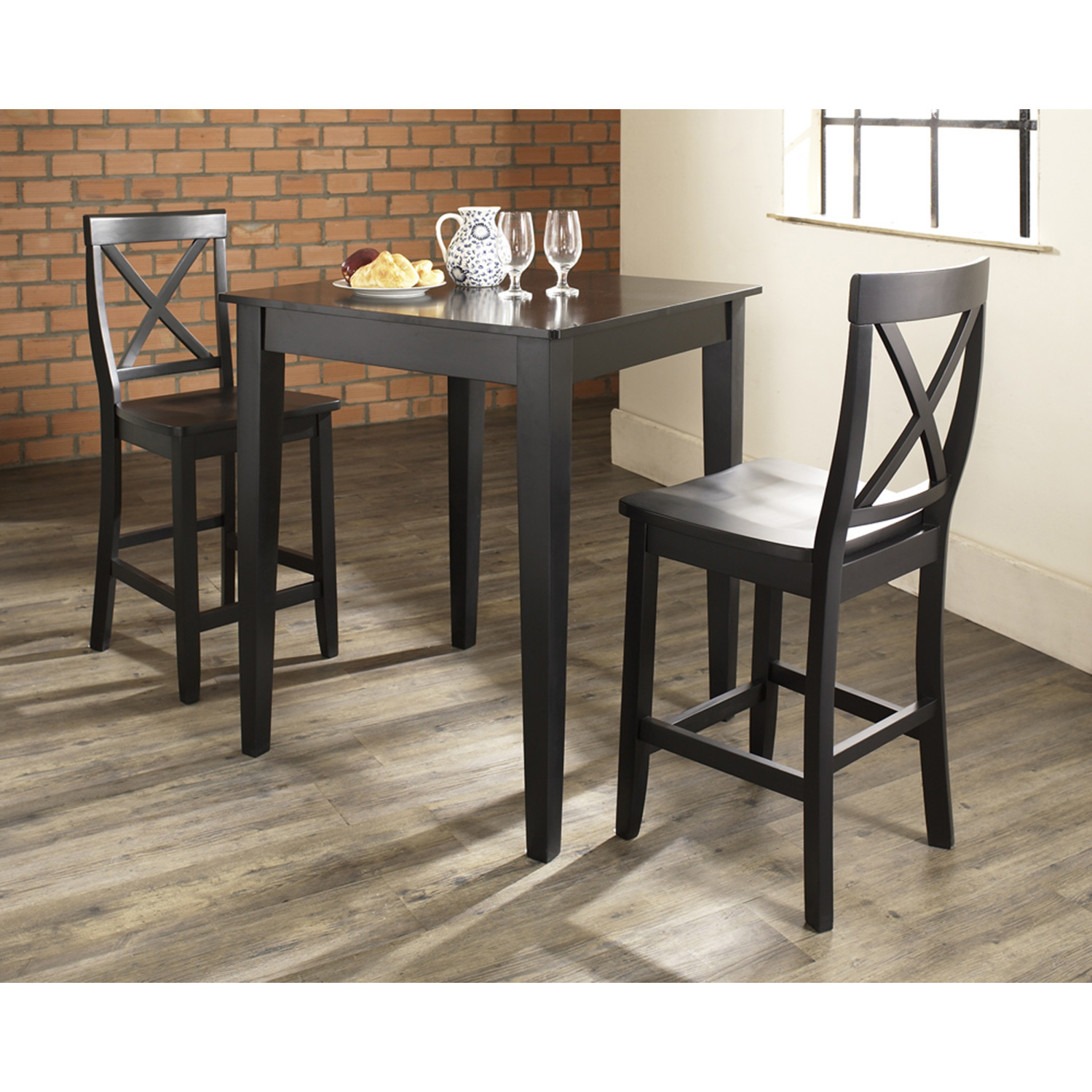 3-Piece Pub Dining Set - Tapered Table Legs, X-Back Stools, Black - CROS-KD320005BK