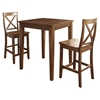 3-Piece Pub Dining Set - Tapered Table Legs, X-Back Stools, Classic Cherry - CROS-KD320005CH