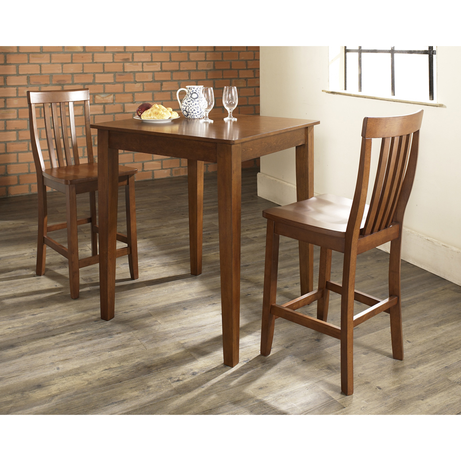 3-Piece Pub Dining Set - Tapered Leg, School House Stools, Cherry - CROS-KD320007CH