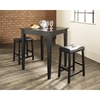 3-Piece Pub Dining Set - Tapered Leg, Saddle Stools, Black - CROS-KD320008BK