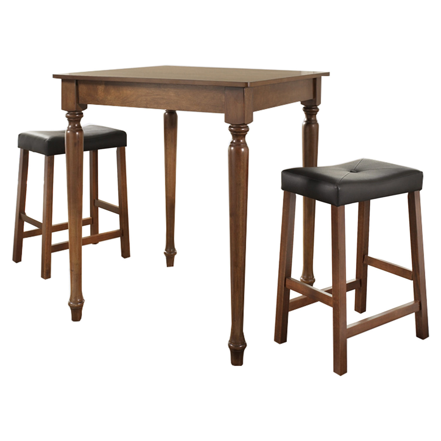 3-Piece Pub Dining Set - Turned Table Legs, Saddle Stools, Cherry - CROS-KD320012CH