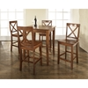 5-Piece Pub Dining Set - Cabriole Table Legs, X-Back Stools, Classic Cherry - CROS-KD520001CH