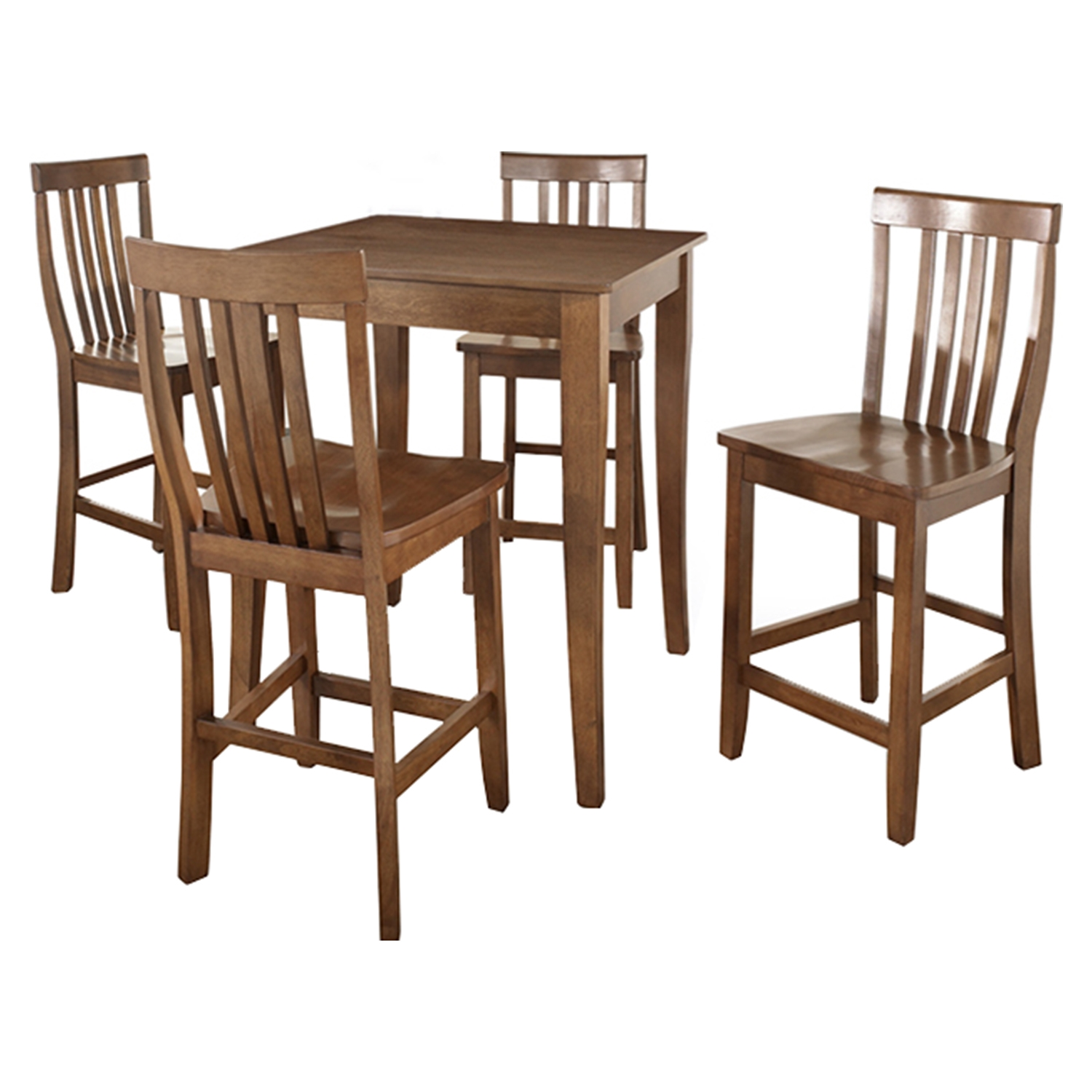 5-Piece Pub Dining Set - Cabriole Table Legs, School House Stools, Cherry - CROS-KD520003CH