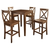 5-Piece Pub Dining Set - Tapered Table Legs, X-Back Stools, Classic Cherry - CROS-KD520005CH