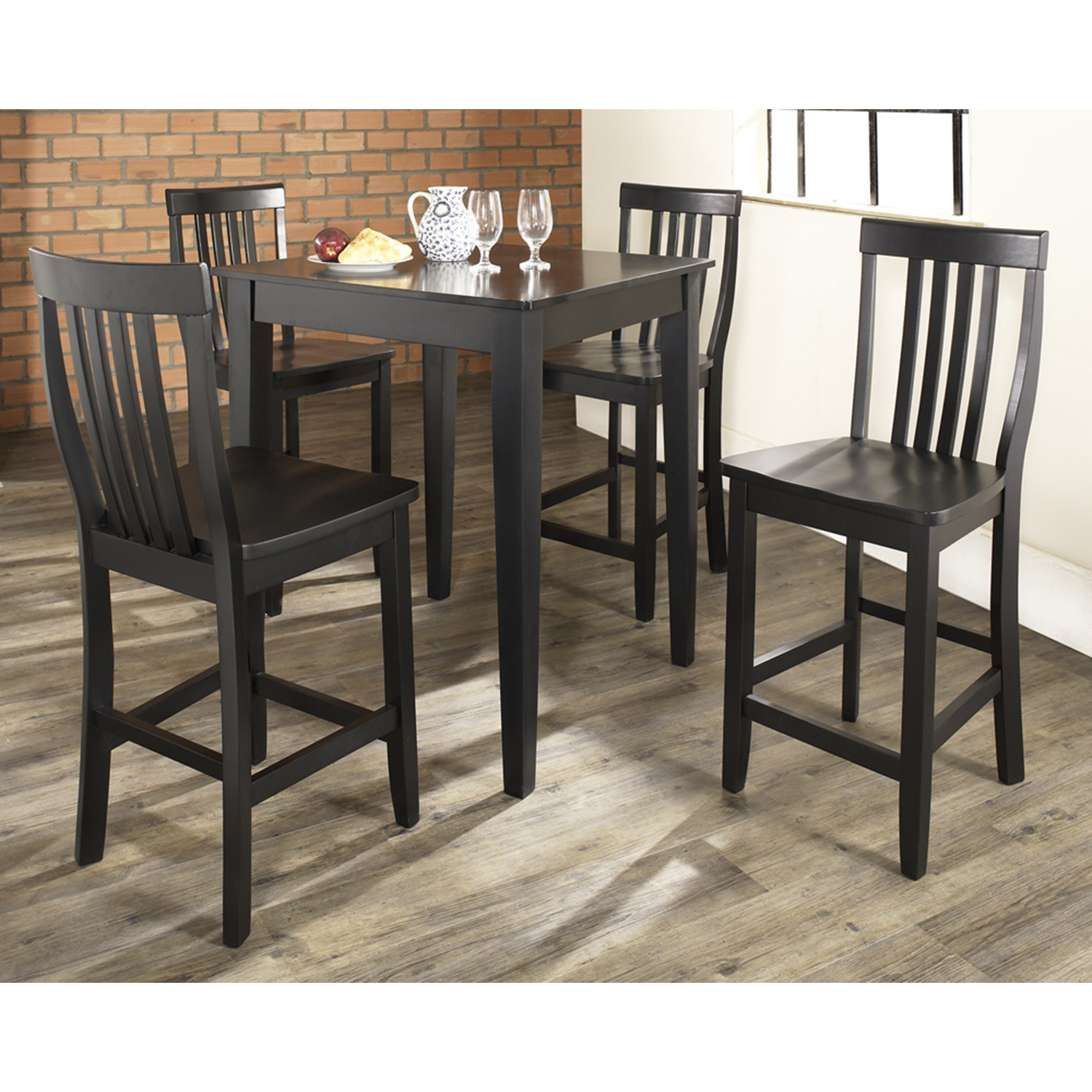 5-Piece Pub Dining Set - Tapered Table Legs, School House Stools, Black - CROS-KD520007BK