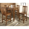 5-Piece Pub Dining Set - Tapered Table Legs, School House Stools, Cherry - CROS-KD520007CH