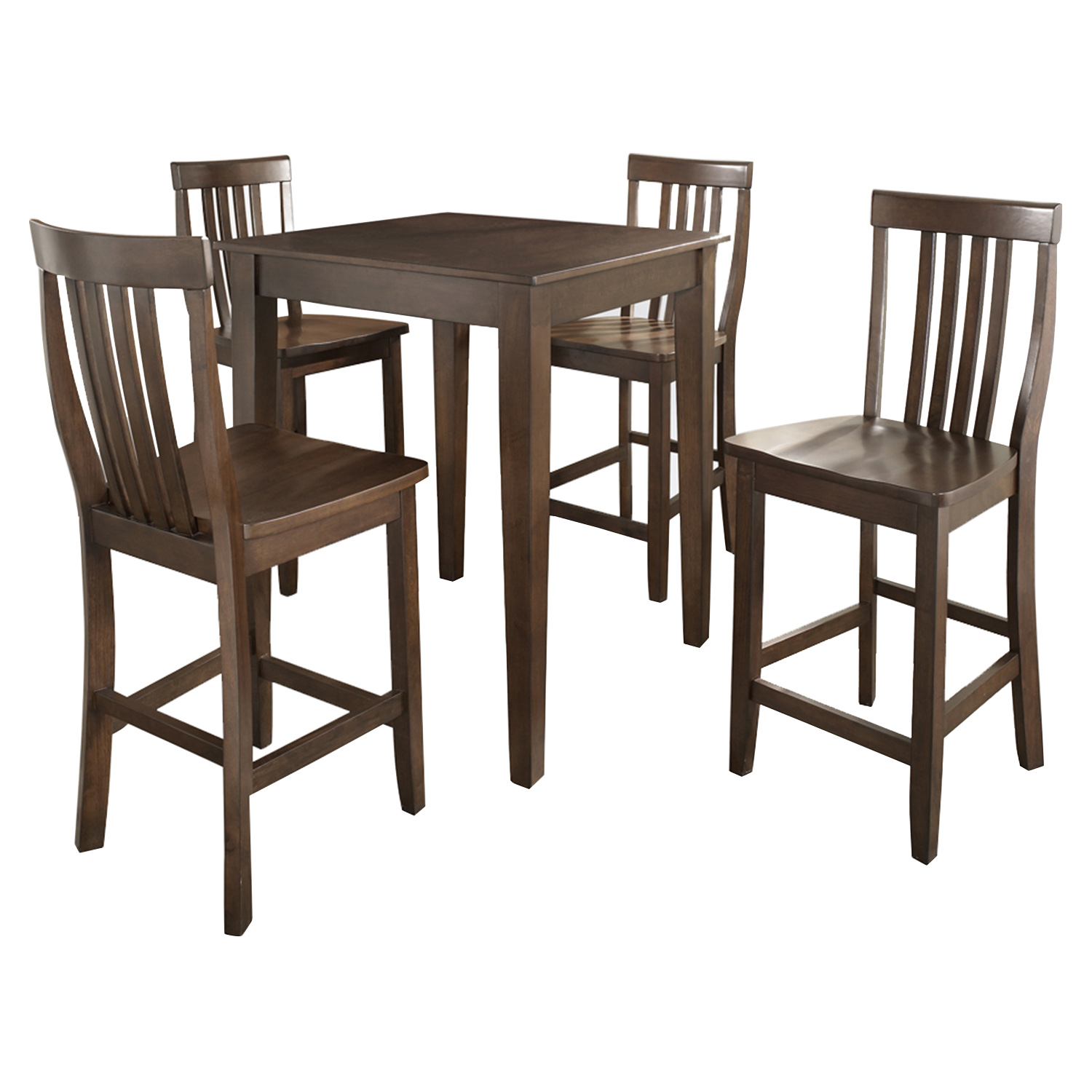 5-Piece Pub Dining Set - Tapered Table Legs, School House Stools, Mahogany - CROS-KD520007MA