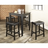 5-Piece Pub Dining Set - Tapered Table Legs, Saddle Stools, Black - CROS-KD520008BK