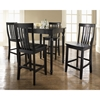 5-Piece Pub Dining Set - Turned Table Legs, School House Stools, Black - CROS-KD520011BK