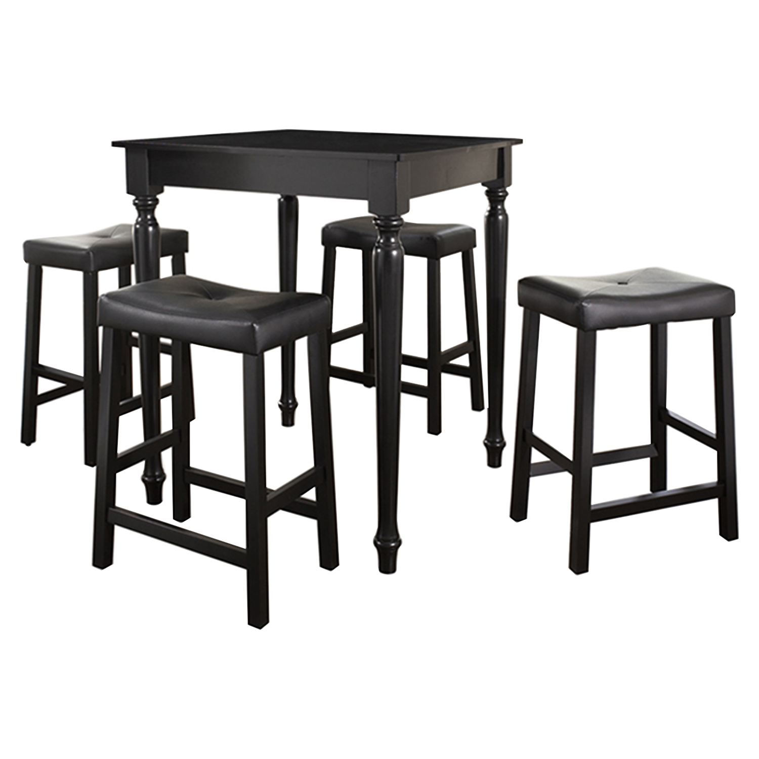 5-Piece Pub Dining Set - Turned Table Legs, Saddle Stools, Black - CROS-KD520012BK